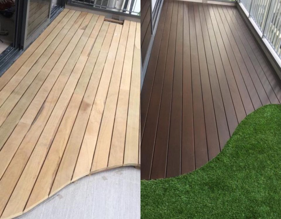 Outdoor Decking - Balcony Chengal Decking + artificial turf, Project site: North Park Residence - Yishun 17