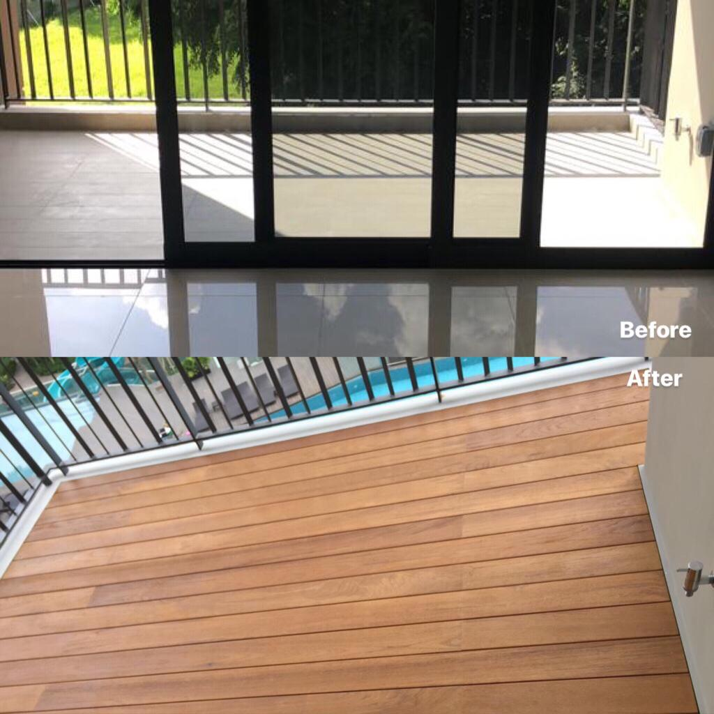 Indoor Decking - Burmese Decking for balcony decking, Project site: High Park Residence 2