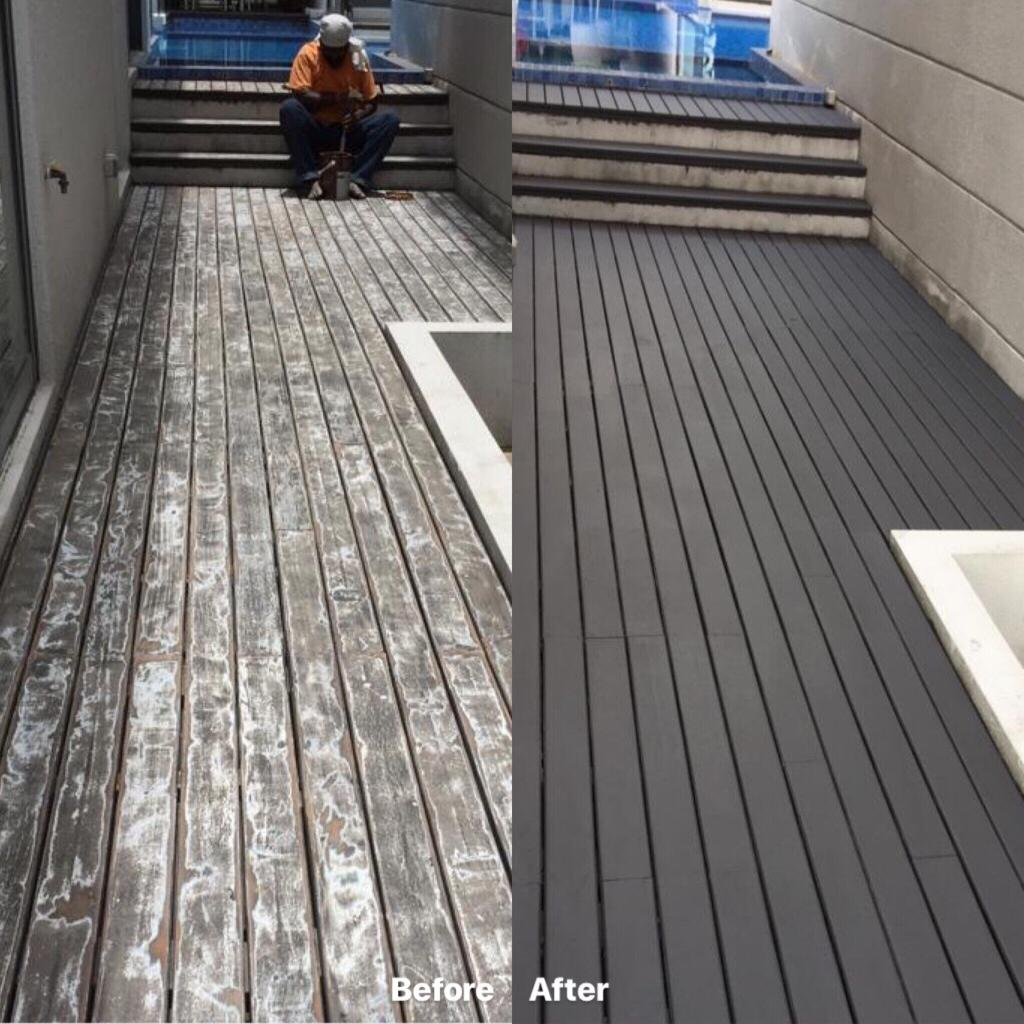 Outdoor Decking - Old Chengal Decking after sand and re-varnish 1