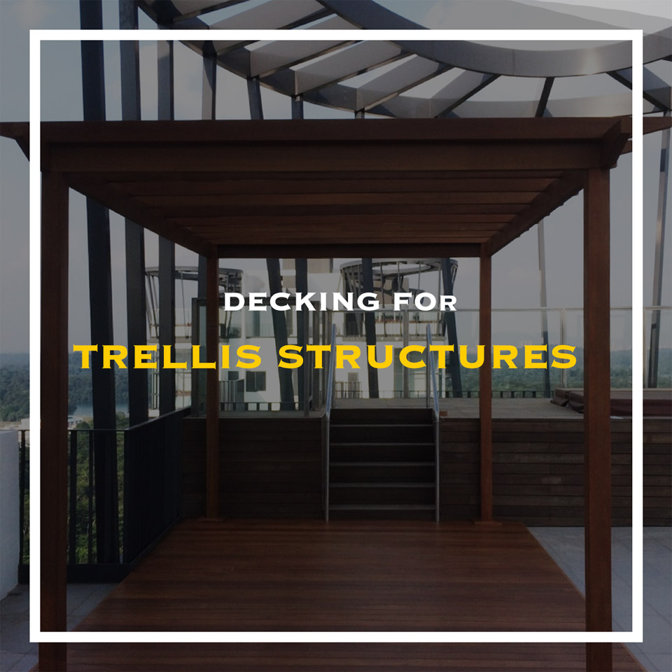 outdoor decking for trellis structures